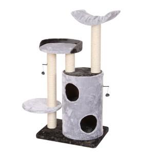 Wooden black Cat Tree Modern Cat Scratcher Tree Indoor for cat activity tree with wicker