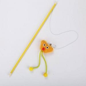 Fur mouse cat teaser stick toy pet toy