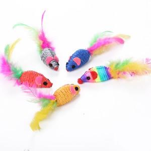 Wholesale rainbow color mouse cat toy pet toy